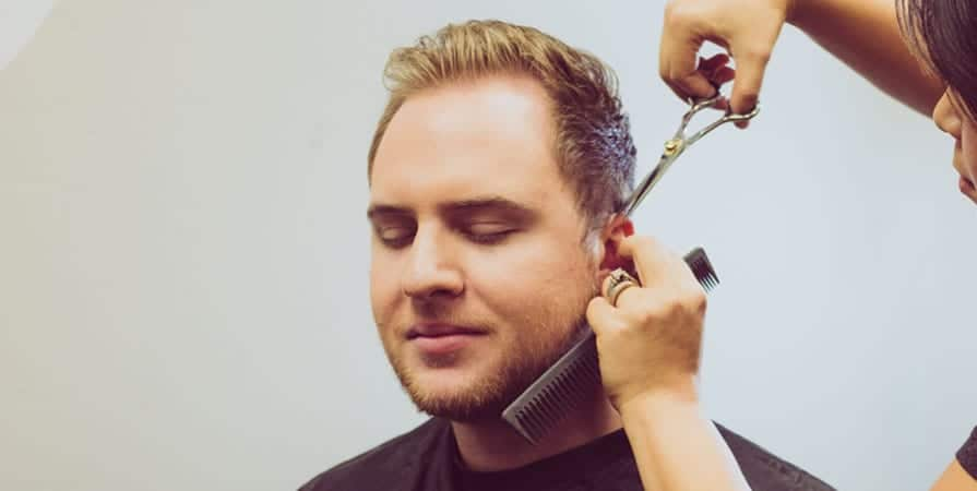 Marietta Salon man getting haircut