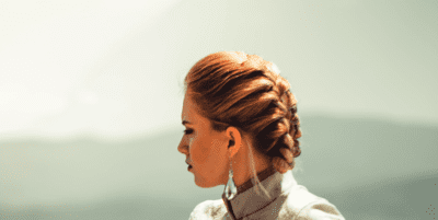 Woman with Creative Updo Hairstyle